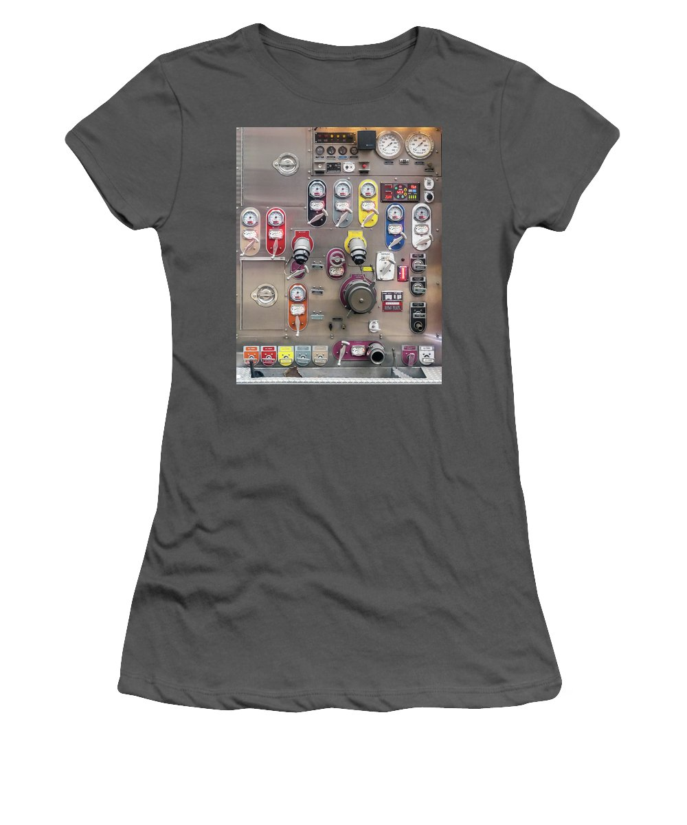 Collage Women's T-Shirt (Athletic Fit) featuring the photograph Fire Truck Controls by Ivan Santiago