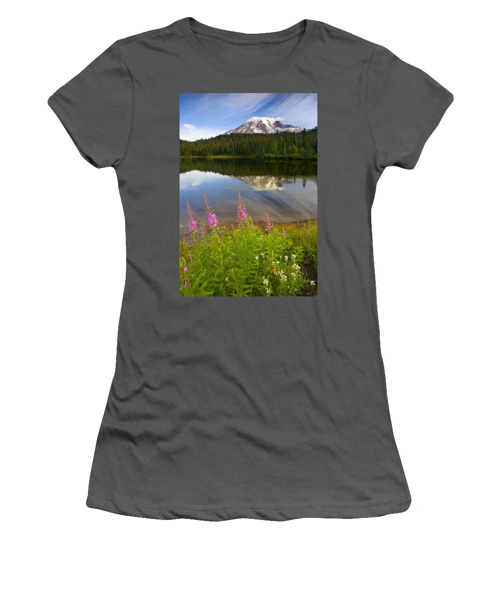 Fireweed Women's T-Shirt (Athletic Fit) featuring the photograph Fireweed Reflections by Mike Dawson