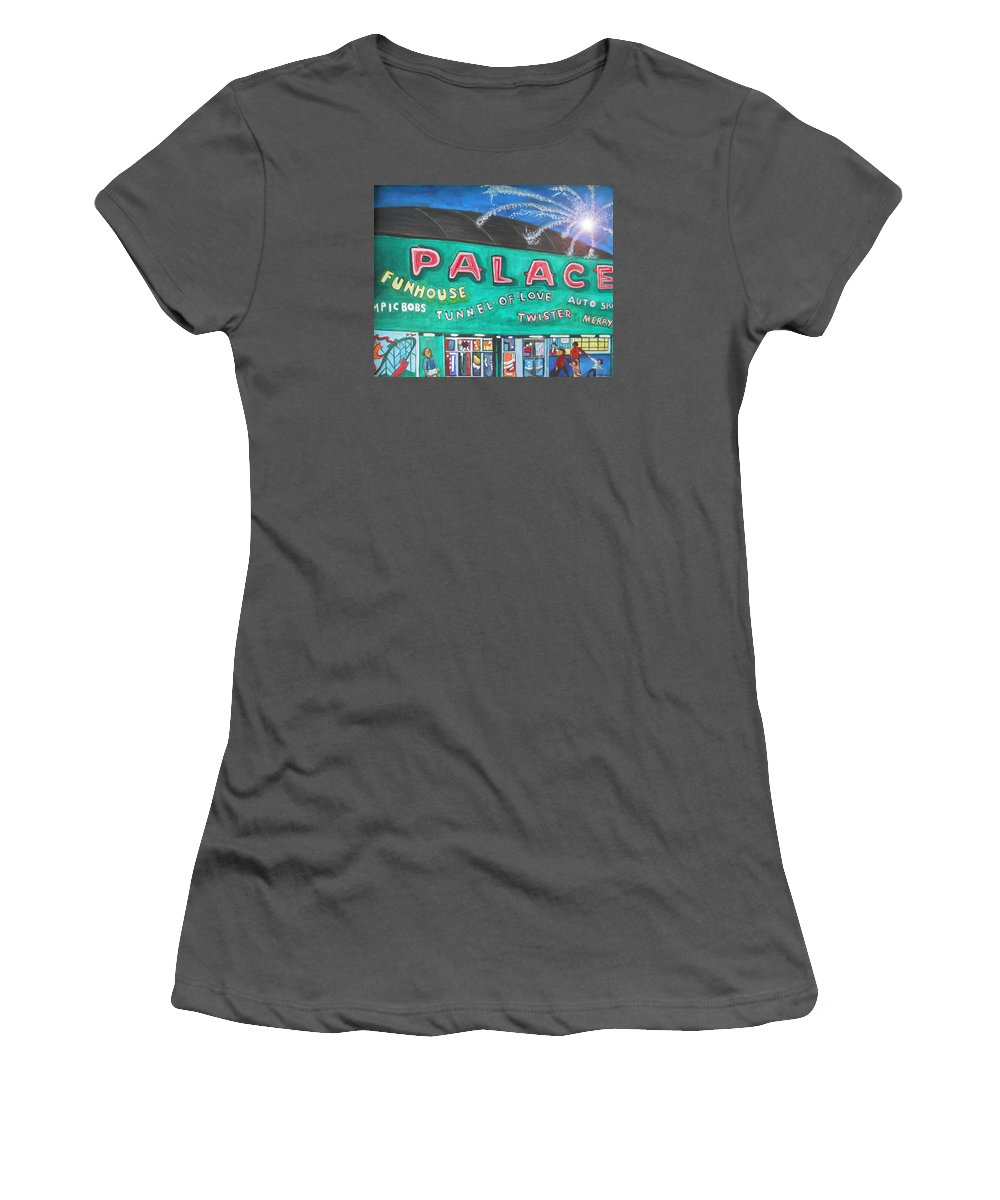 Asbury Park Art Women's T-Shirt (Athletic Fit) featuring the painting Fireworks At The Palace by Patricia Arroyo