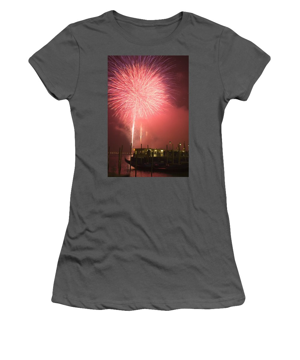Fireworks Women's T-Shirt (Athletic Fit) featuring the photograph Fireworks In Venice by Ian Middleton
