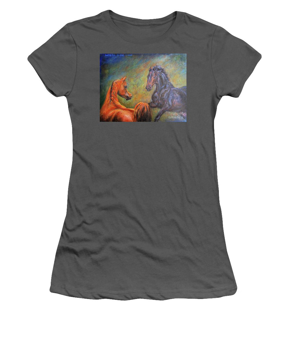 First Sight Women's T-Shirt (Athletic Fit) featuring the painting First Sight by Xueling Zou