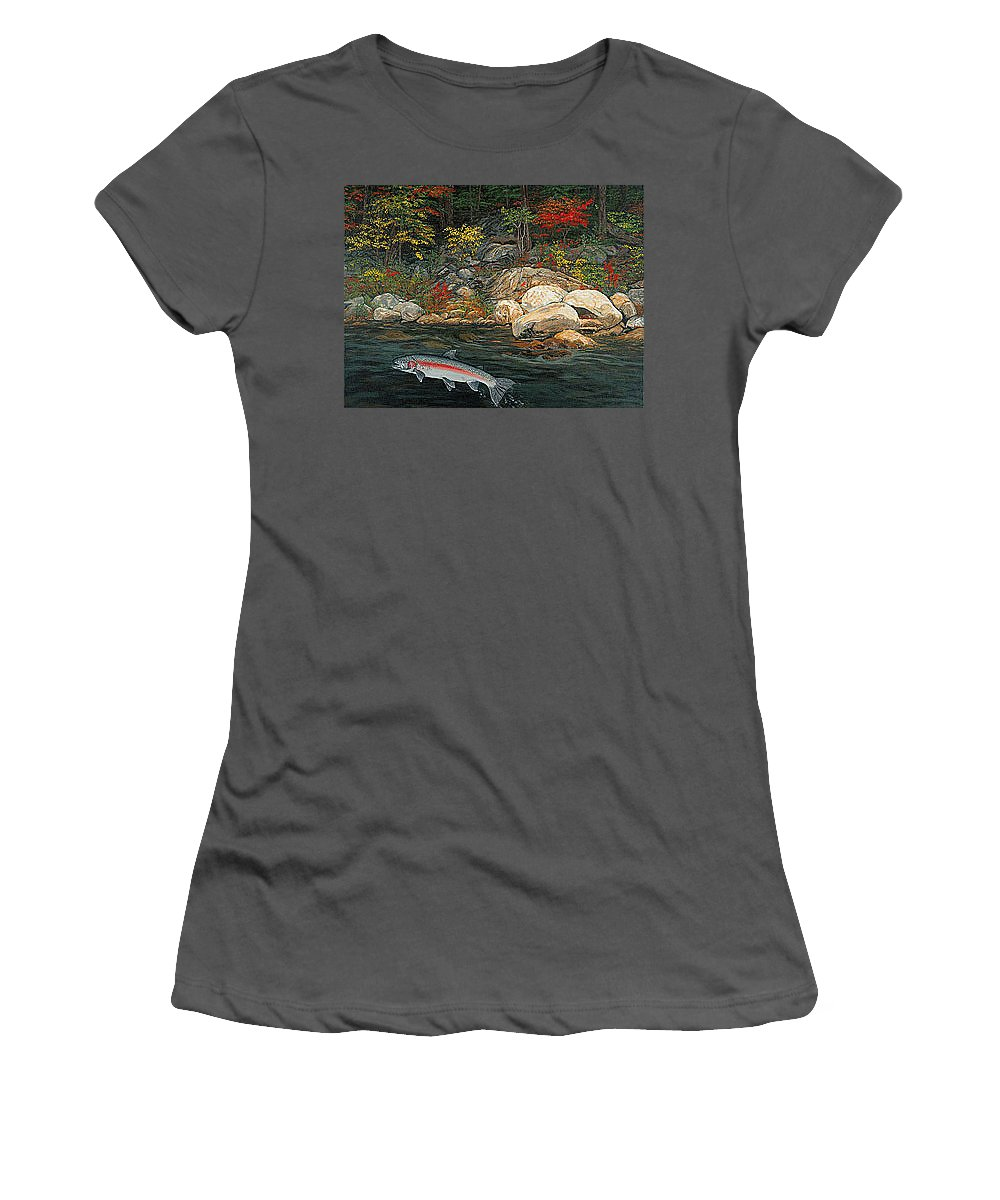 Art Women's T-Shirt (Athletic Fit) featuring the painting Fish Art Jumping Silver Steelhead Trout Art Nature Artwork Giclee Wildlife Underwater Wall Art Work by Baslee Troutman
