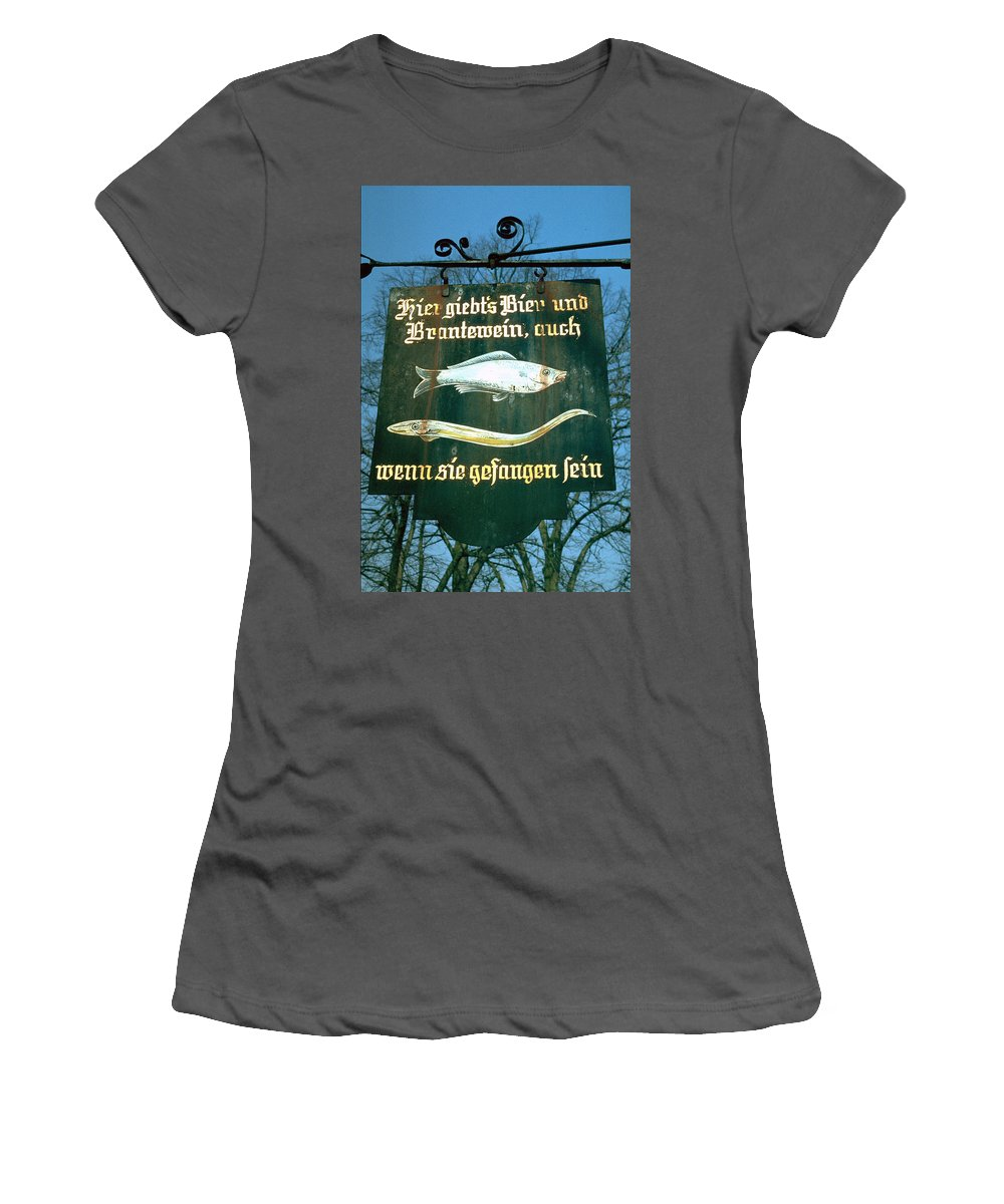 Store Sign Women's T-Shirt (Athletic Fit) featuring the photograph Fish by Flavia Westerwelle