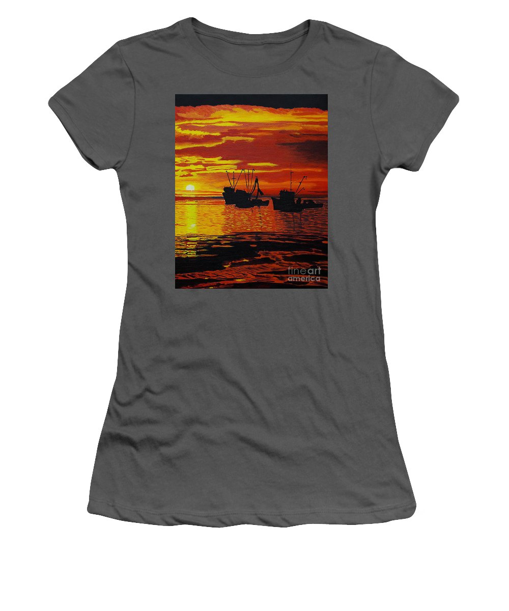 Sunsets Women's T-Shirt (Athletic Fit) featuring the photograph Fishing Boats At Sunset by Rich Walter