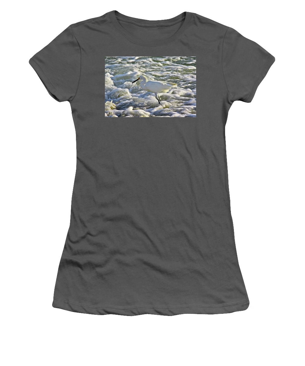 Ocean Women's T-Shirt (Athletic Fit) featuring the photograph Fishing In The Foam by Diana Hatcher