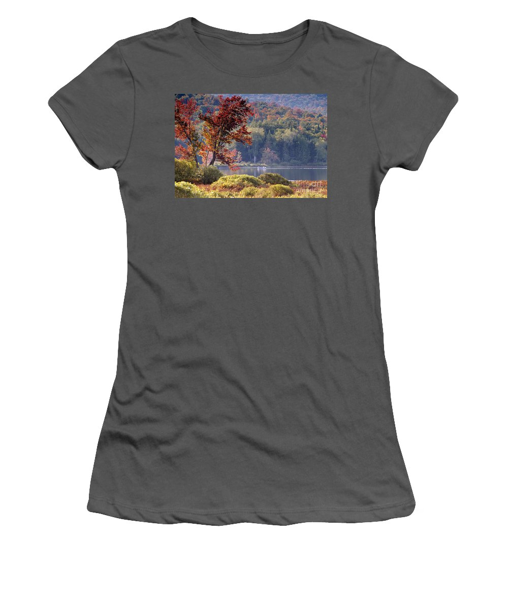 Adirondack Mountains Women's T-Shirt (Athletic Fit) featuring the photograph Fishing The Adirondacks by David Lee Thompson