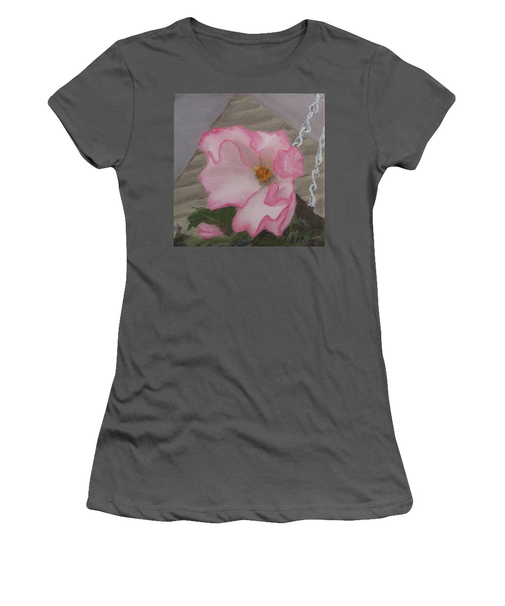 Flower Women's T-Shirt (Athletic Fit) featuring the painting Flirty Begonia by Lea Novak