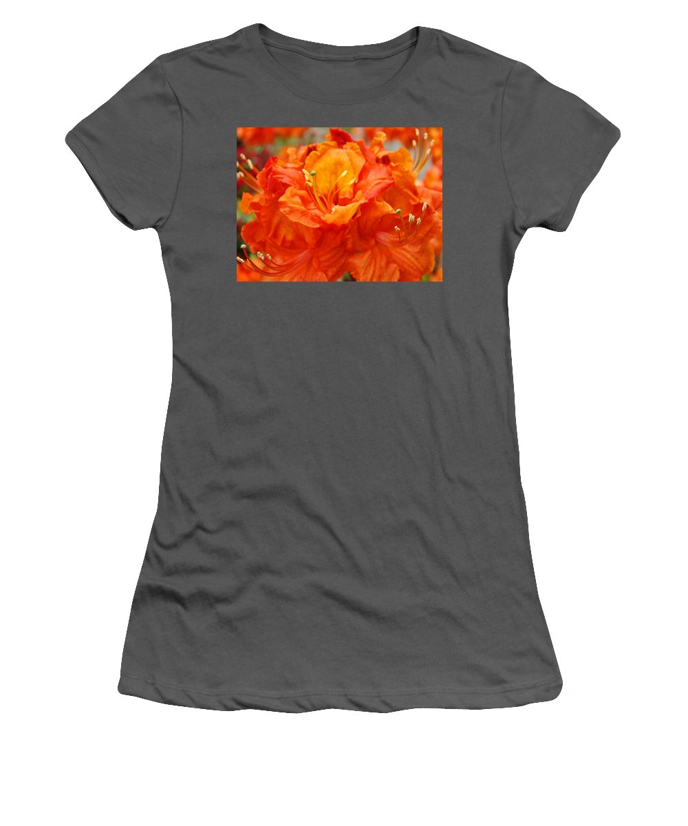 Rhodie Women's T-Shirt (Athletic Fit) featuring the photograph Floral Rhodies Art Prints Orange Rhododendrons Canvas Art Baslee Troutman by Baslee Troutman