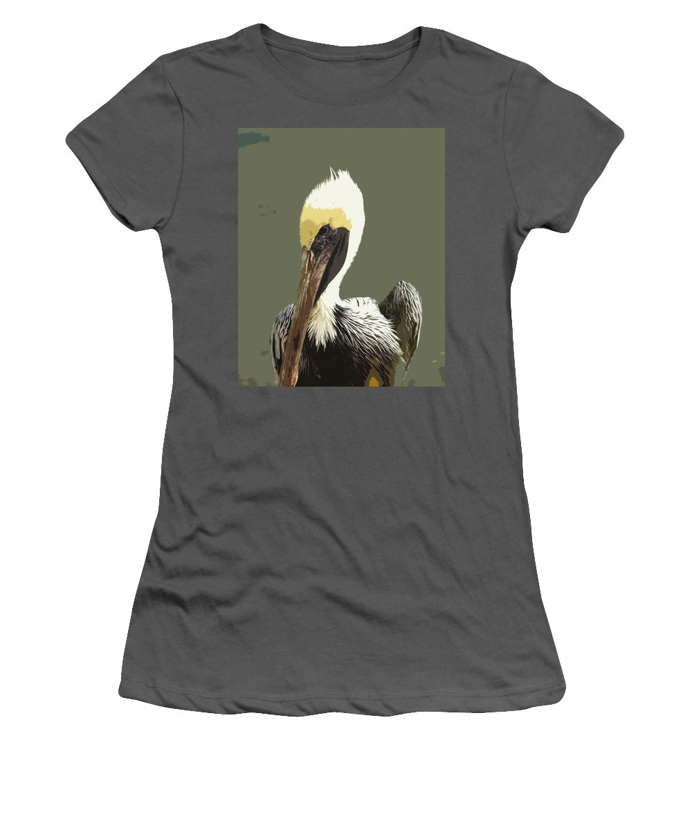 Pelican Women's T-Shirt (Athletic Fit) featuring the painting Florida Brown Pelican by Allan Hughes
