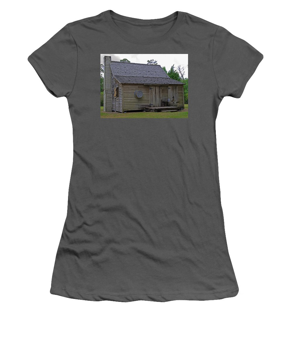 Cracker; Florida; Cabin; Rain; Light; Falls; 1900's; Farmer; Farm; Citrus; Oranges; Orlando; Mature; Women's T-Shirt (Athletic Fit) featuring the photograph Florida Cracker Cabin Circa 1900 by Allan Hughes