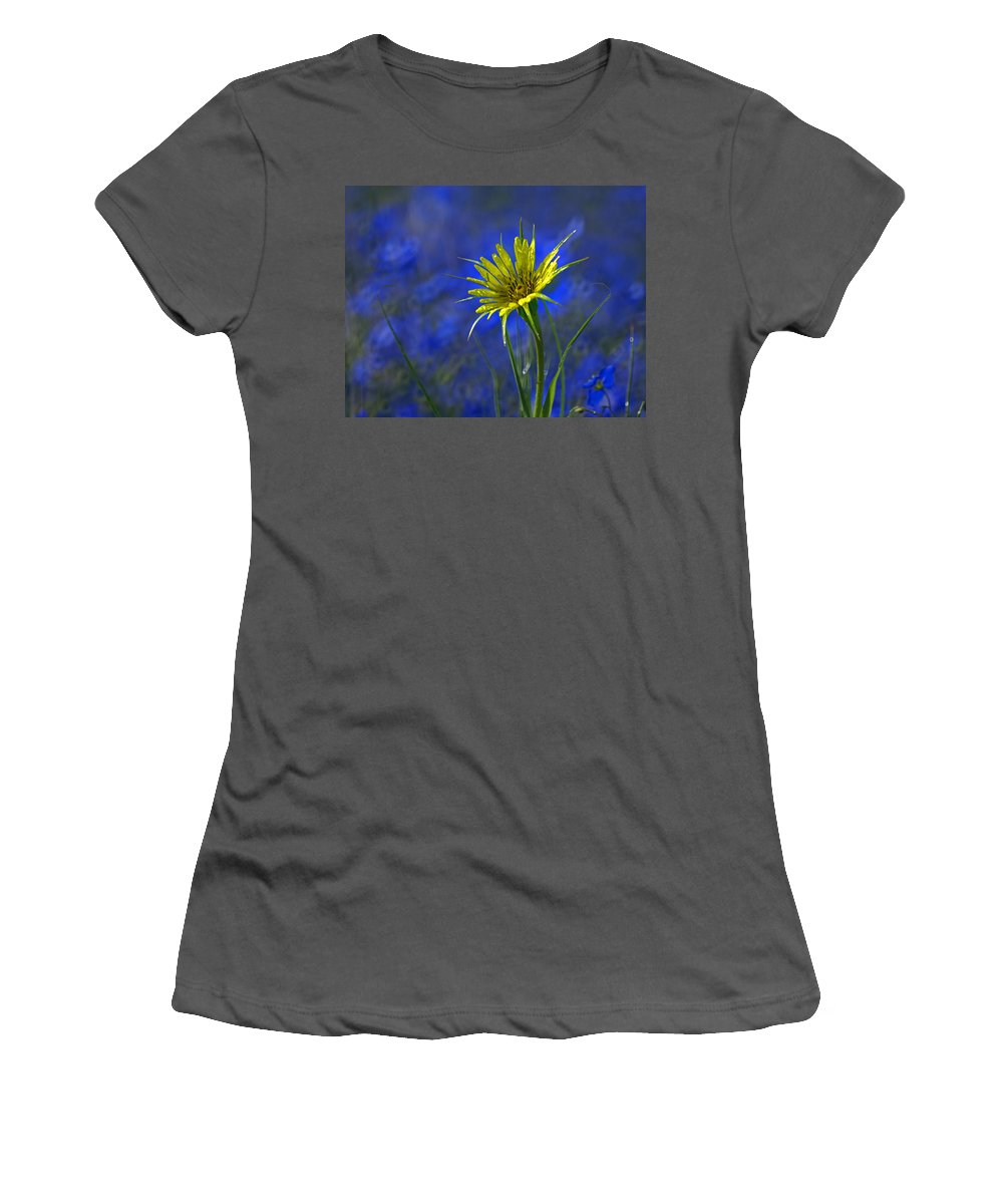 Flower Women's T-Shirt (Athletic Fit) featuring the photograph Flower And Flax by Heather Coen
