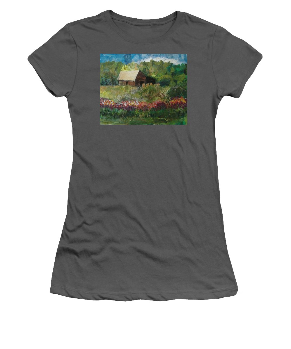Landscape Women's T-Shirt (Athletic Fit) featuring the mixed media Flower Farm by Pat Snook