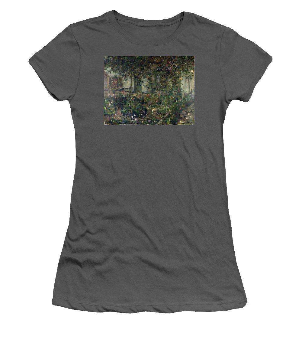 Flower Garden In Bloom Women's T-Shirt (Athletic Fit) featuring the painting Flower Garden In Bloom by Franz Heinrich Louis