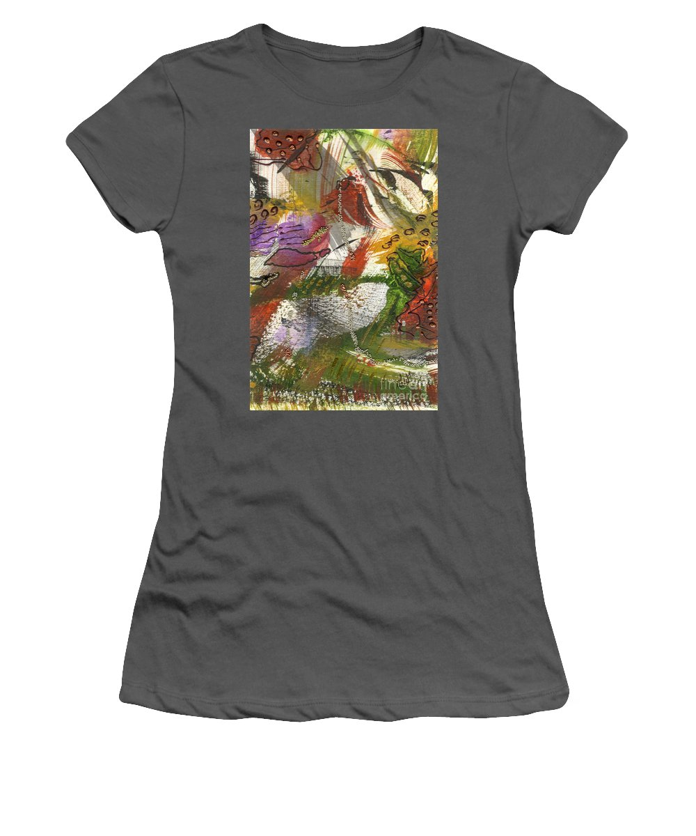 Purple Women's T-Shirt (Athletic Fit) featuring the mixed media Flowers And Leaves IIi by Angela L Walker