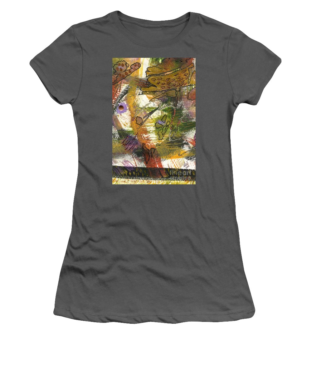 Purple Women's T-Shirt (Athletic Fit) featuring the mixed media Flowers And Leaves Iv by Angela L Walker
