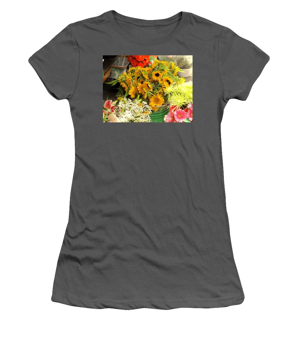 Flowers Women's T-Shirt (Athletic Fit) featuring the photograph Flowers For Sale by Ian MacDonald