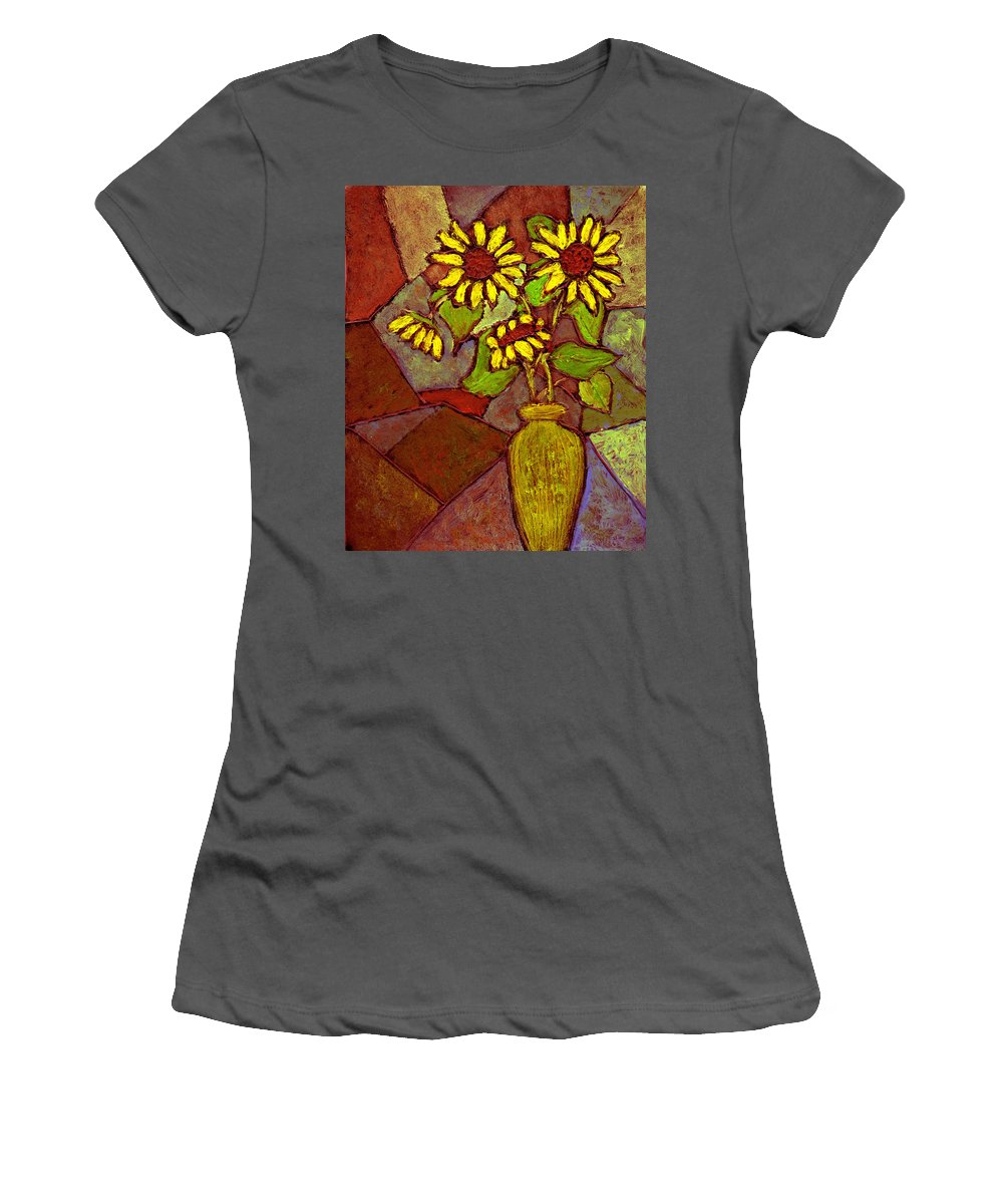Sunflowers Women's T-Shirt (Athletic Fit) featuring the painting Flowers In Vase Altered by Wayne Potrafka
