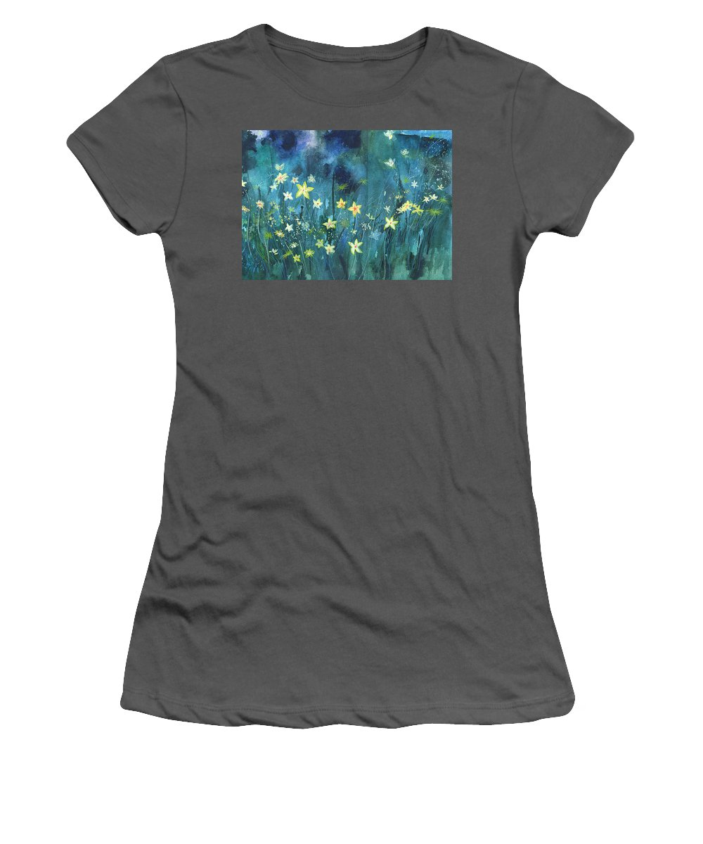 Landscape Women's T-Shirt (Athletic Fit) featuring the painting Flowers N Breeze by Anil Nene