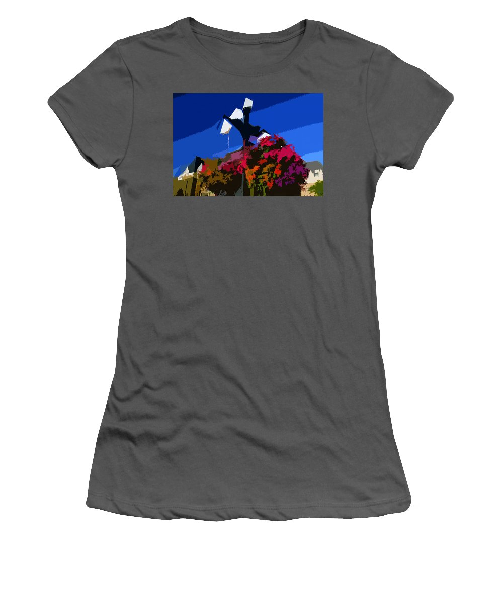 Flowers Women's T-Shirt (Athletic Fit) featuring the painting Flowers On Lamppost by David Lee Thompson