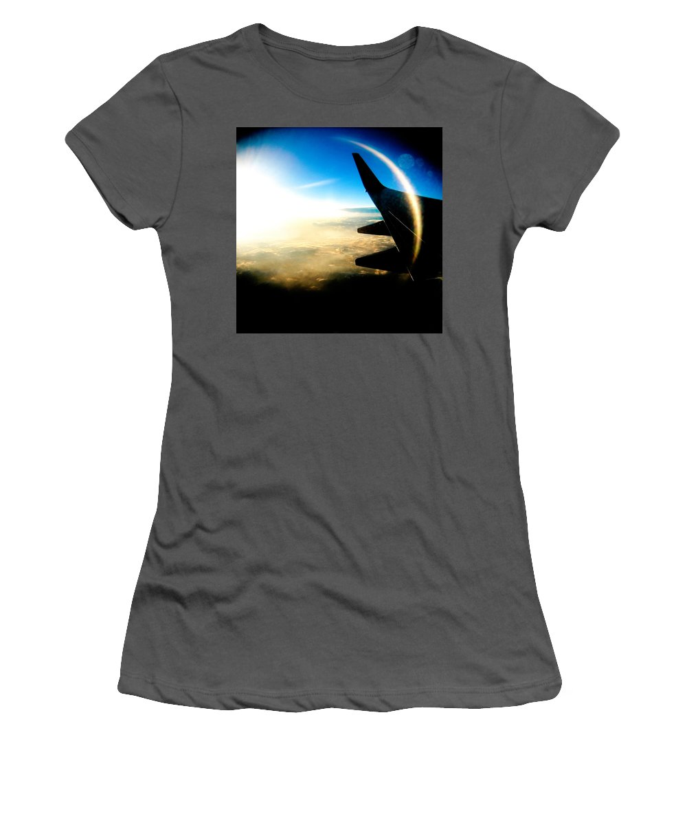 Plane Sky Sun Holga Color Photograph Women's T-Shirt (Athletic Fit) featuring the photograph Fly Like A Dolphin by Olivier De Rycke