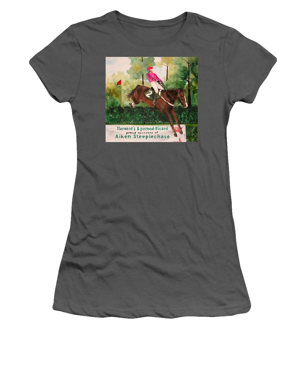 Horse Women's T-Shirt (Athletic Fit) featuring the painting Flying High by Jean Blackmer