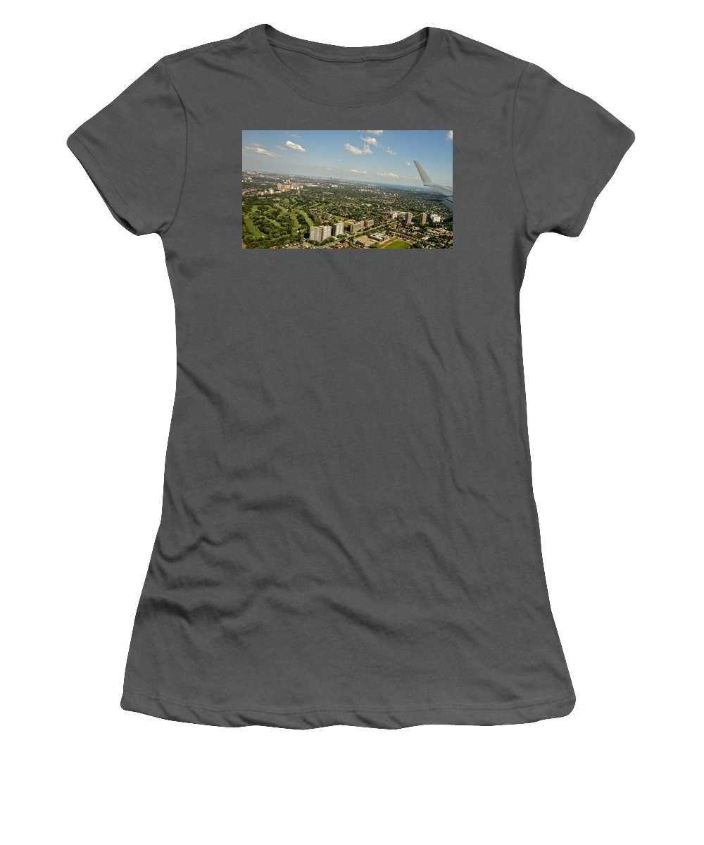 Aerial View Women's T-Shirt (Athletic Fit) featuring the photograph Flying Over Toronto by Aurora Bautista