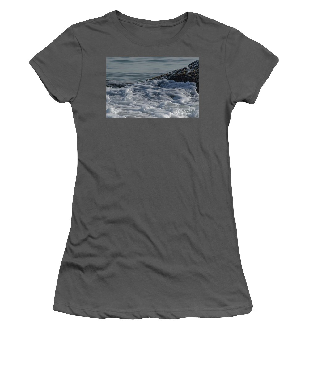 Beach Women's T-Shirt (Athletic Fit) featuring the photograph Foam On The Rocks by Neil Taitel
