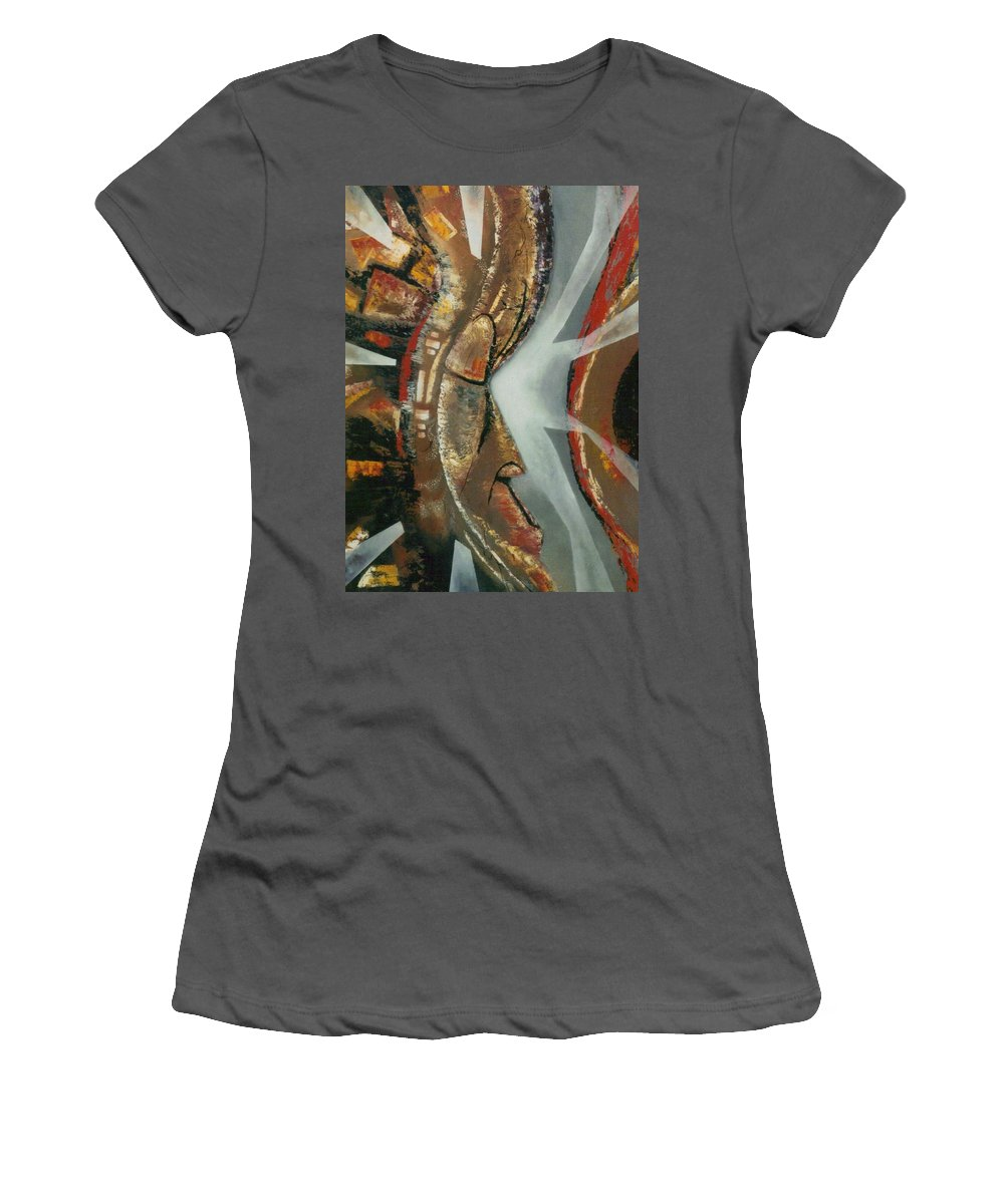 African Mask Women's T-Shirt (Athletic Fit) featuring the painting Focus And Determination by Hasaan Kirkland
