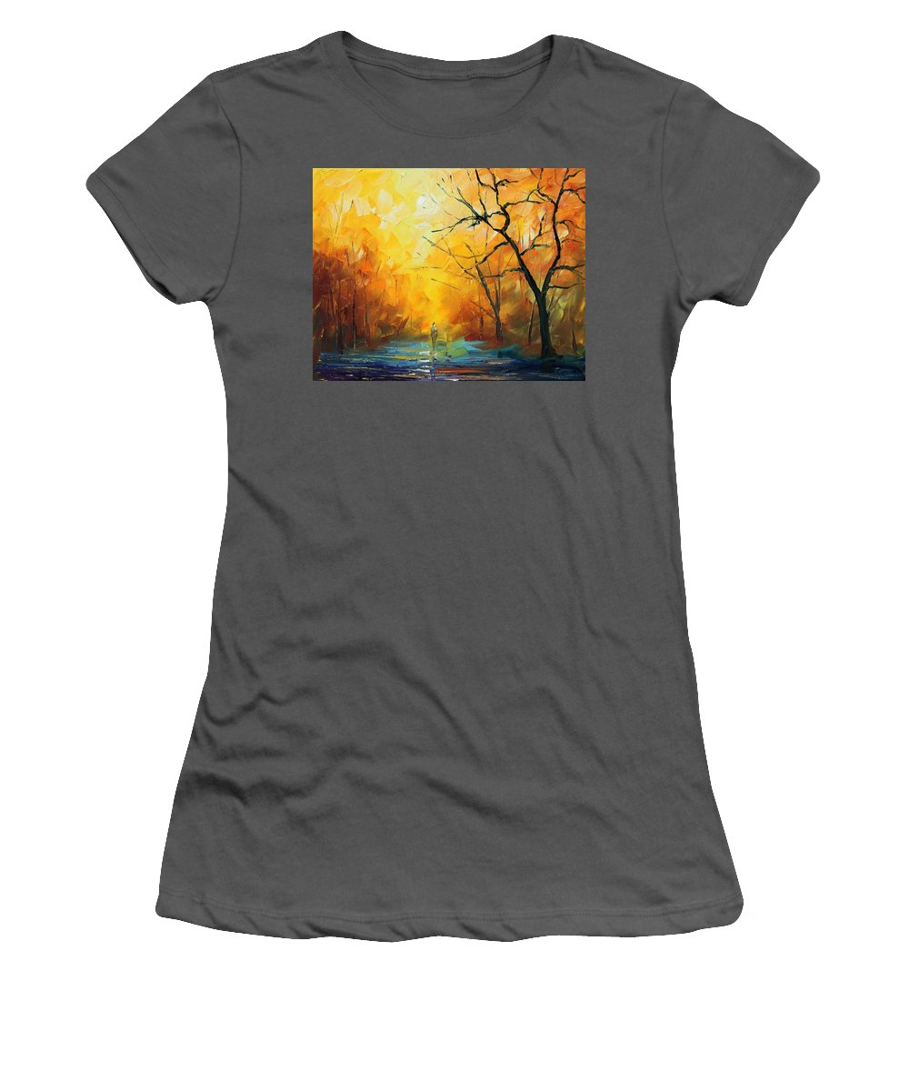 Afremov Women's T-Shirt (Athletic Fit) featuring the painting Fog New by Leonid Afremov
