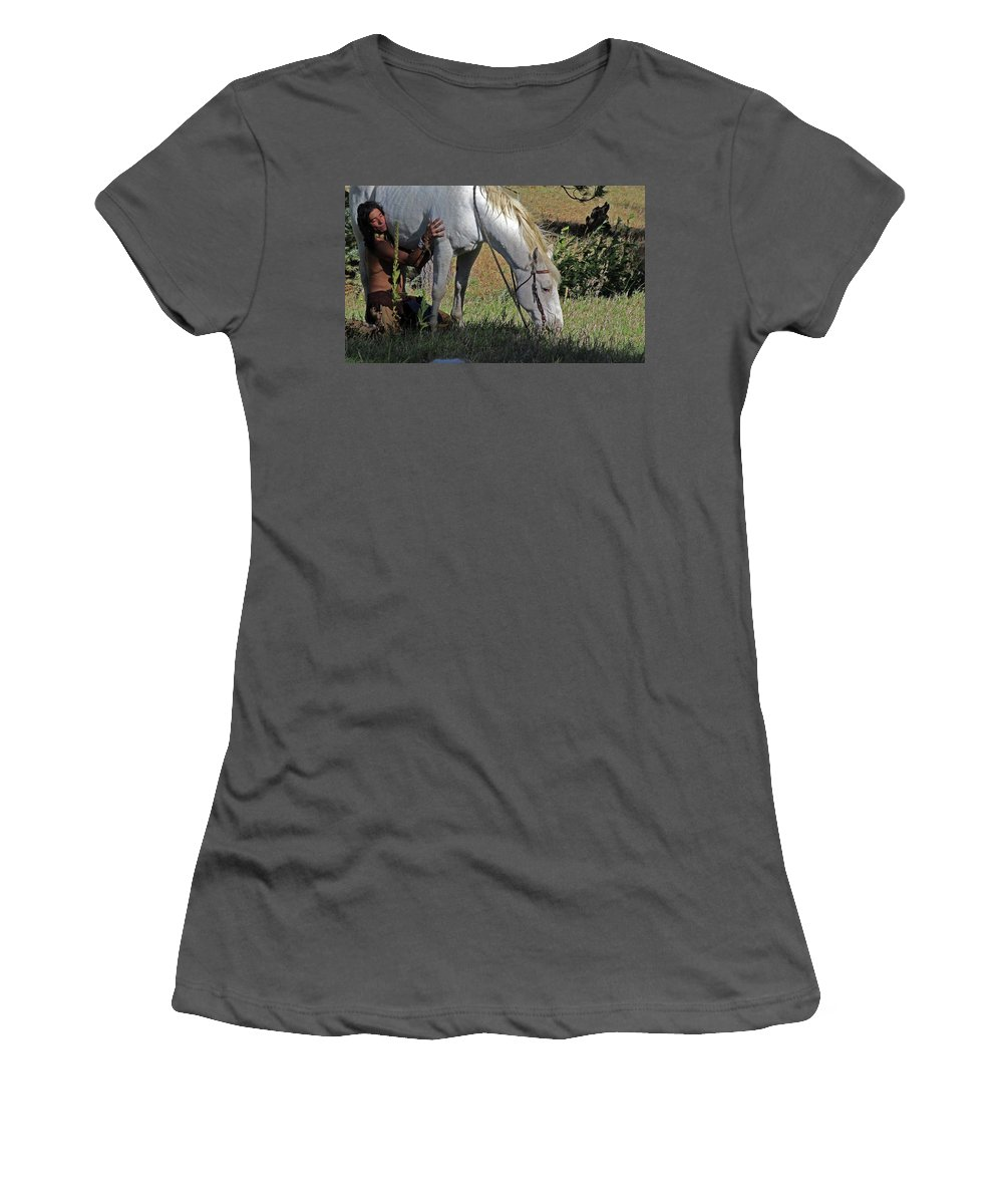 Native American Women's T-Shirt (Athletic Fit) featuring the photograph For The Love Of His Horse by Samantha Burrow