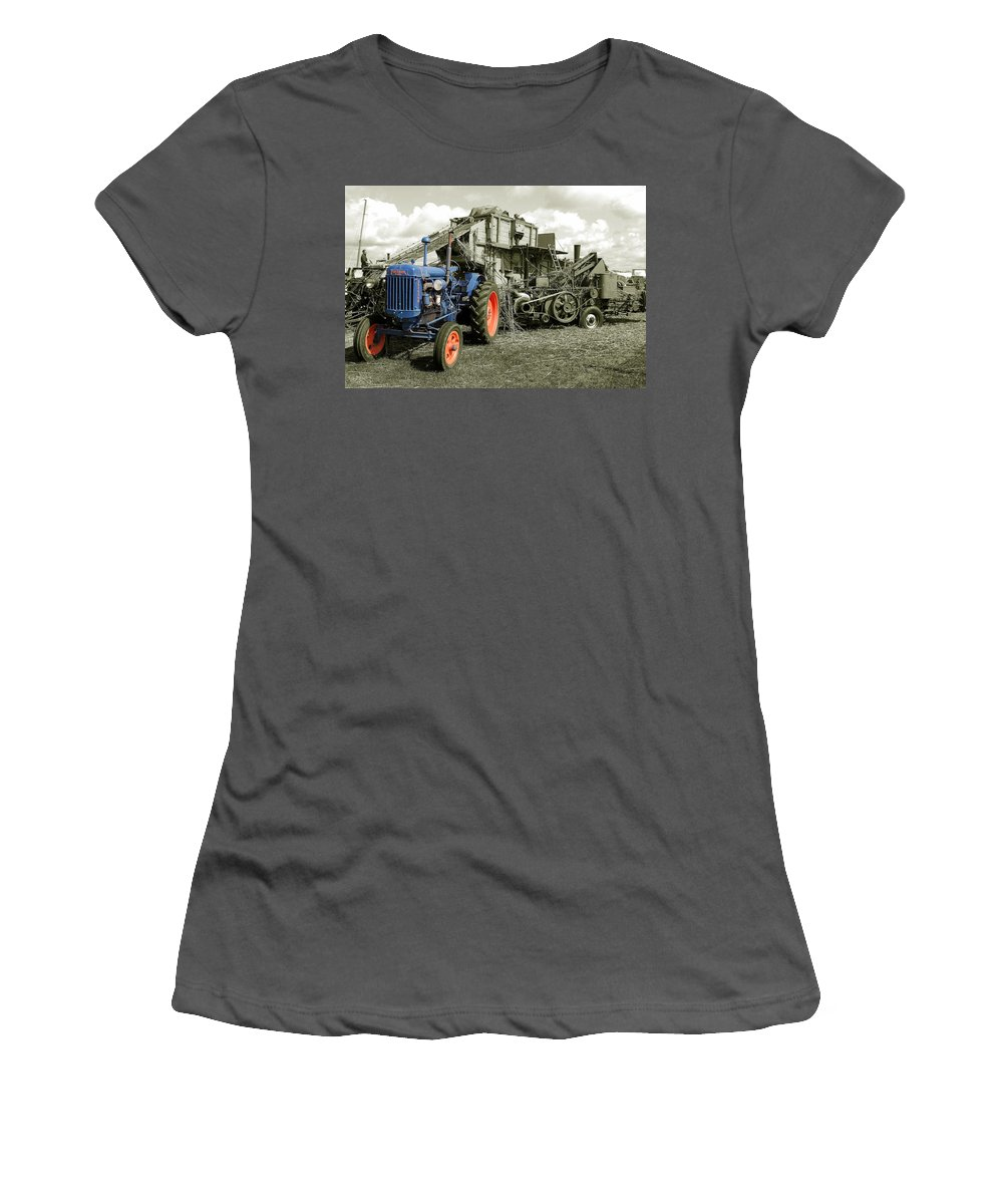 Fordson Women's T-Shirt (Athletic Fit) featuring the photograph Fordson And The Threshing Machine by Rob Hawkins