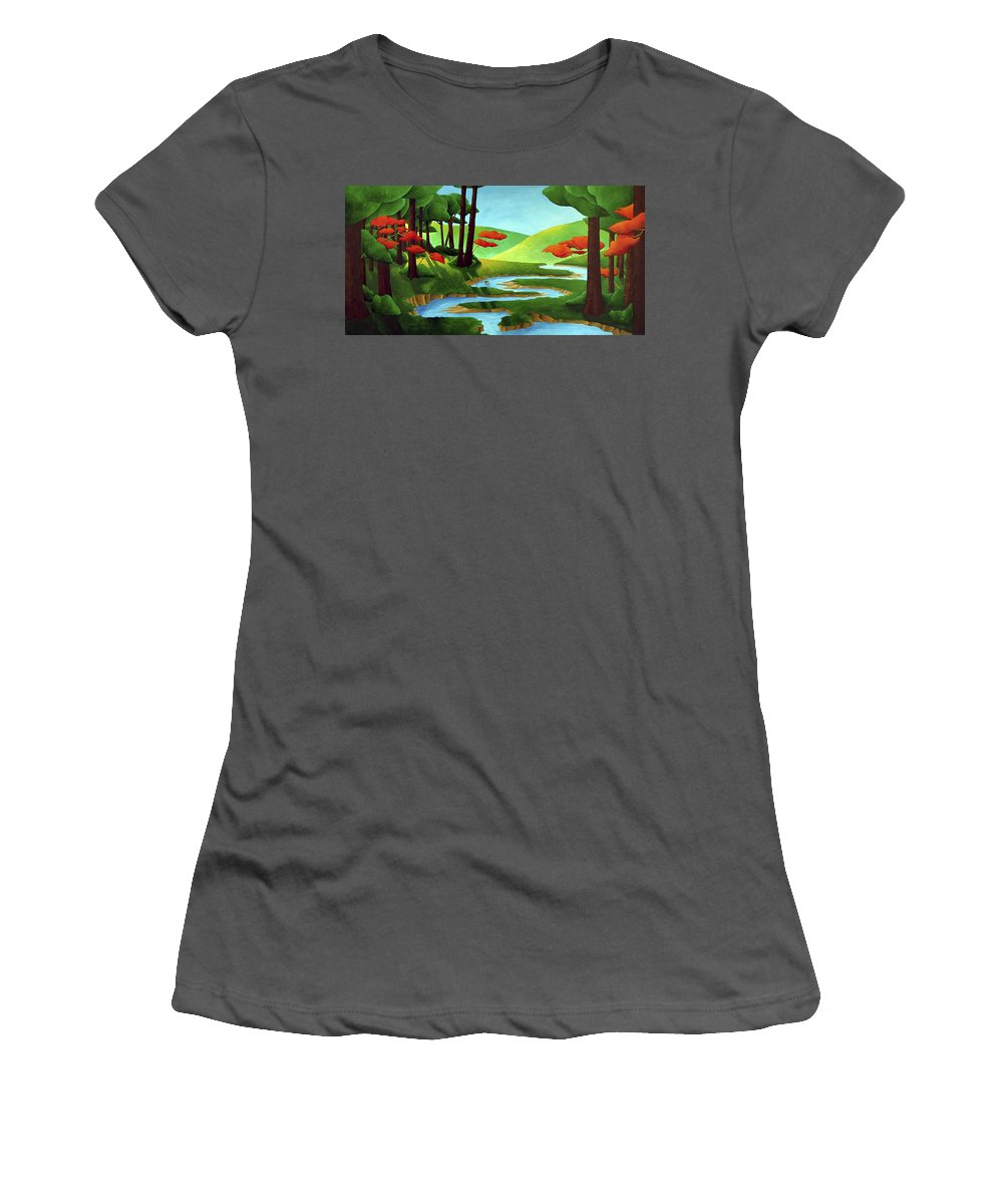 Landscape Women's T-Shirt (Athletic Fit) featuring the painting Forest Stream - Through The Forest Series by Richard Hoedl