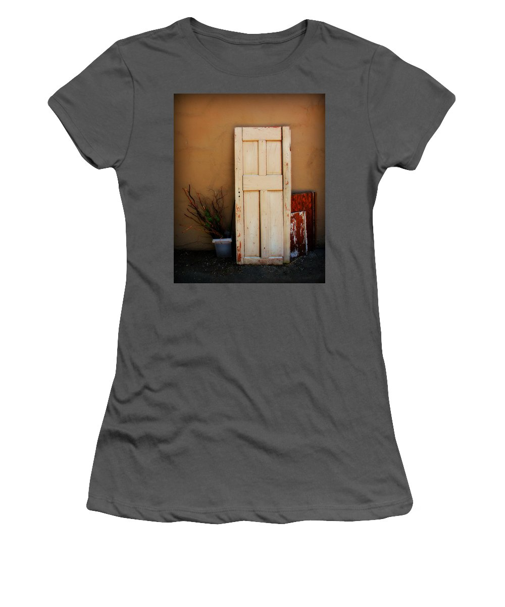 Door Women's T-Shirt (Athletic Fit) featuring the photograph Forgotten Door by Perry Webster
