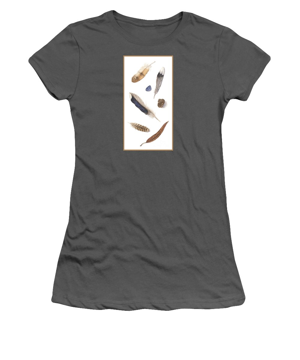 Feathers Women's T-Shirt (Athletic Fit) featuring the painting Found Treasures by Lucy Arnold
