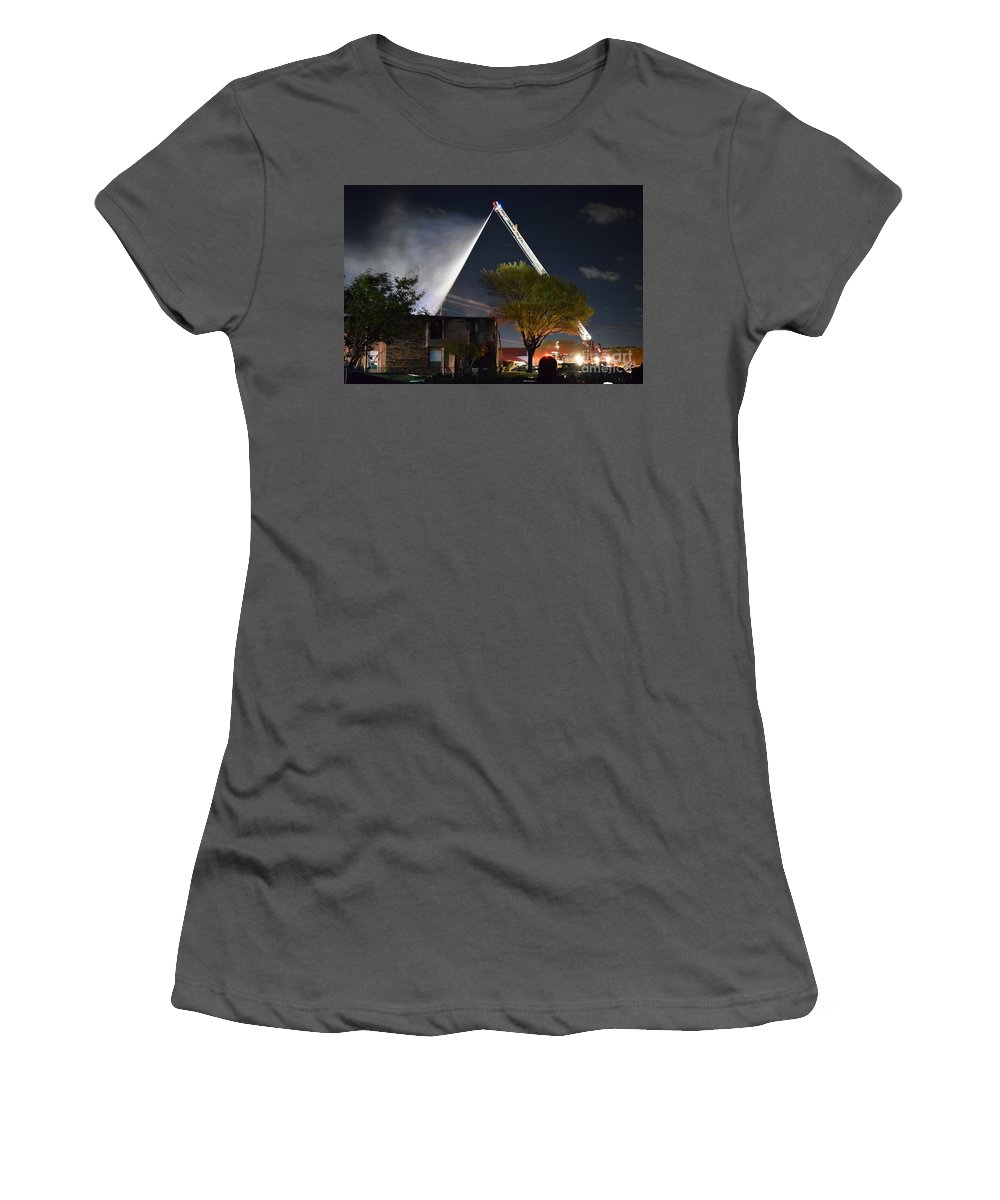 Women's T-Shirt (Athletic Fit) featuring the photograph Four Alarm by Hilton Barlow