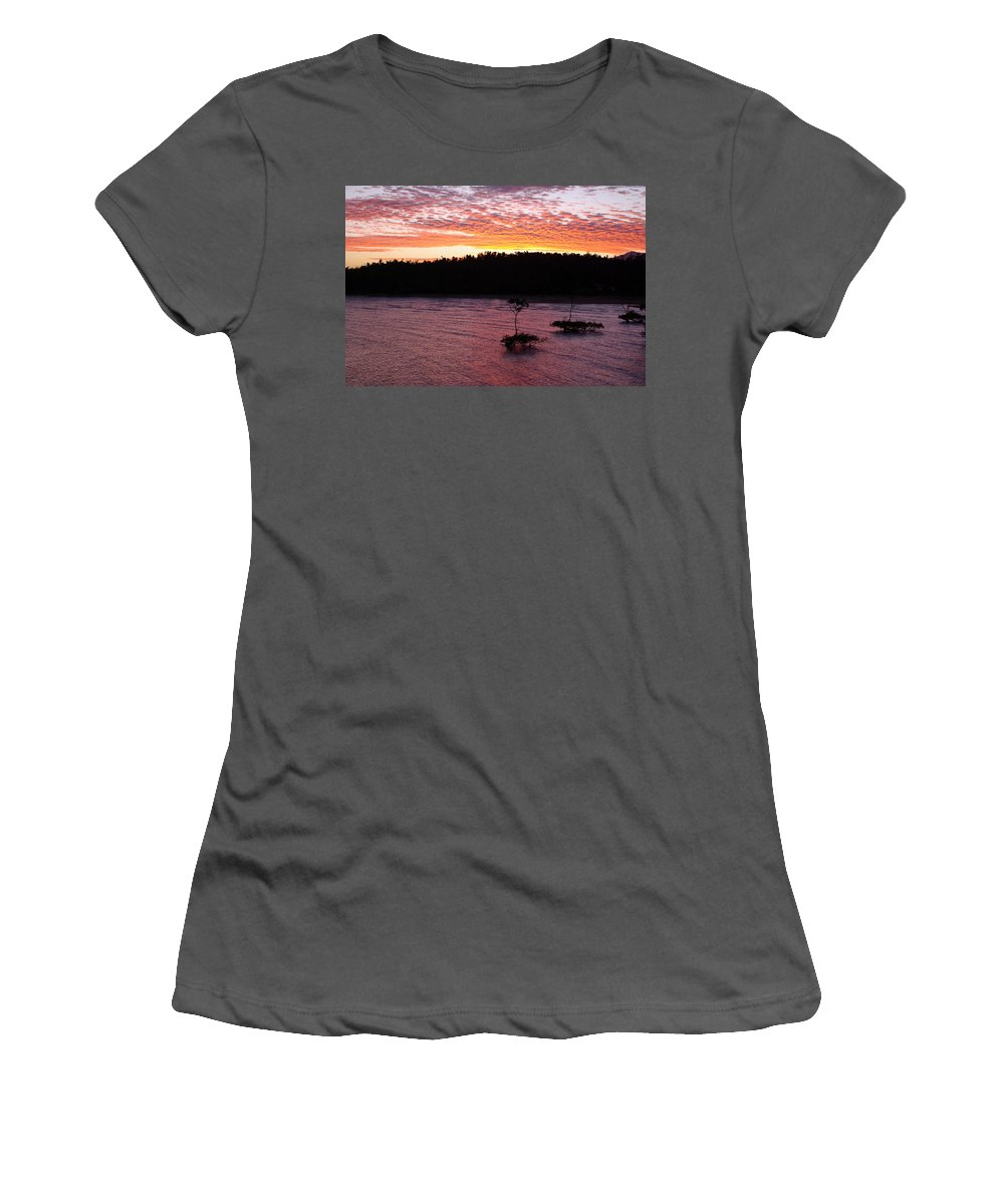 Landscape Women's T-Shirt (Athletic Fit) featuring the photograph Four Elements Sunset Sequence 5 Coconuts Qld by Kerryn Madsen - Pietsch