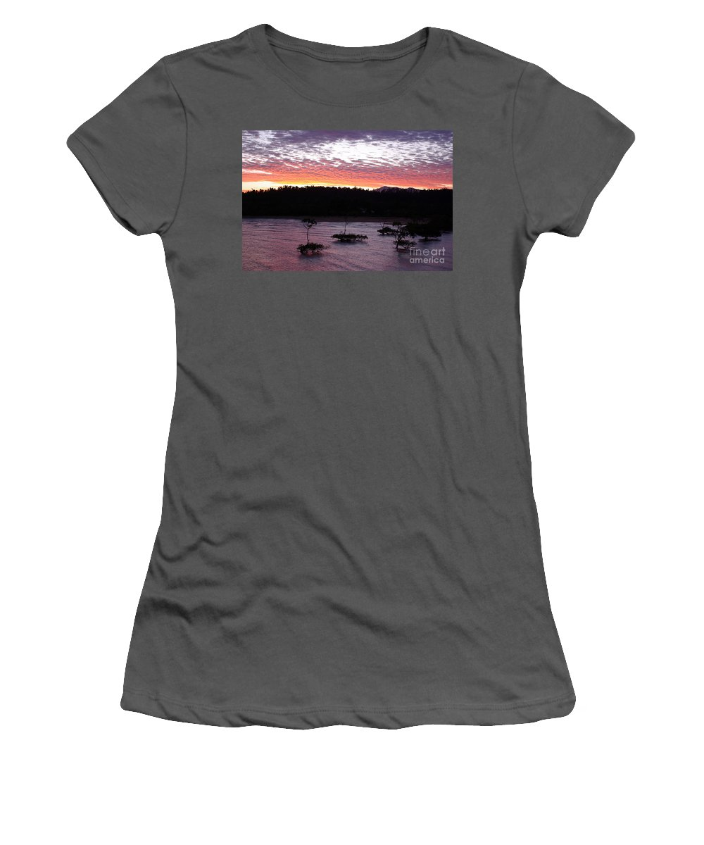 Landscape Women's T-Shirt (Athletic Fit) featuring the photograph Four Elements Sunset Sequence 8 Coconuts Qld by Kerryn Madsen - Pietsch