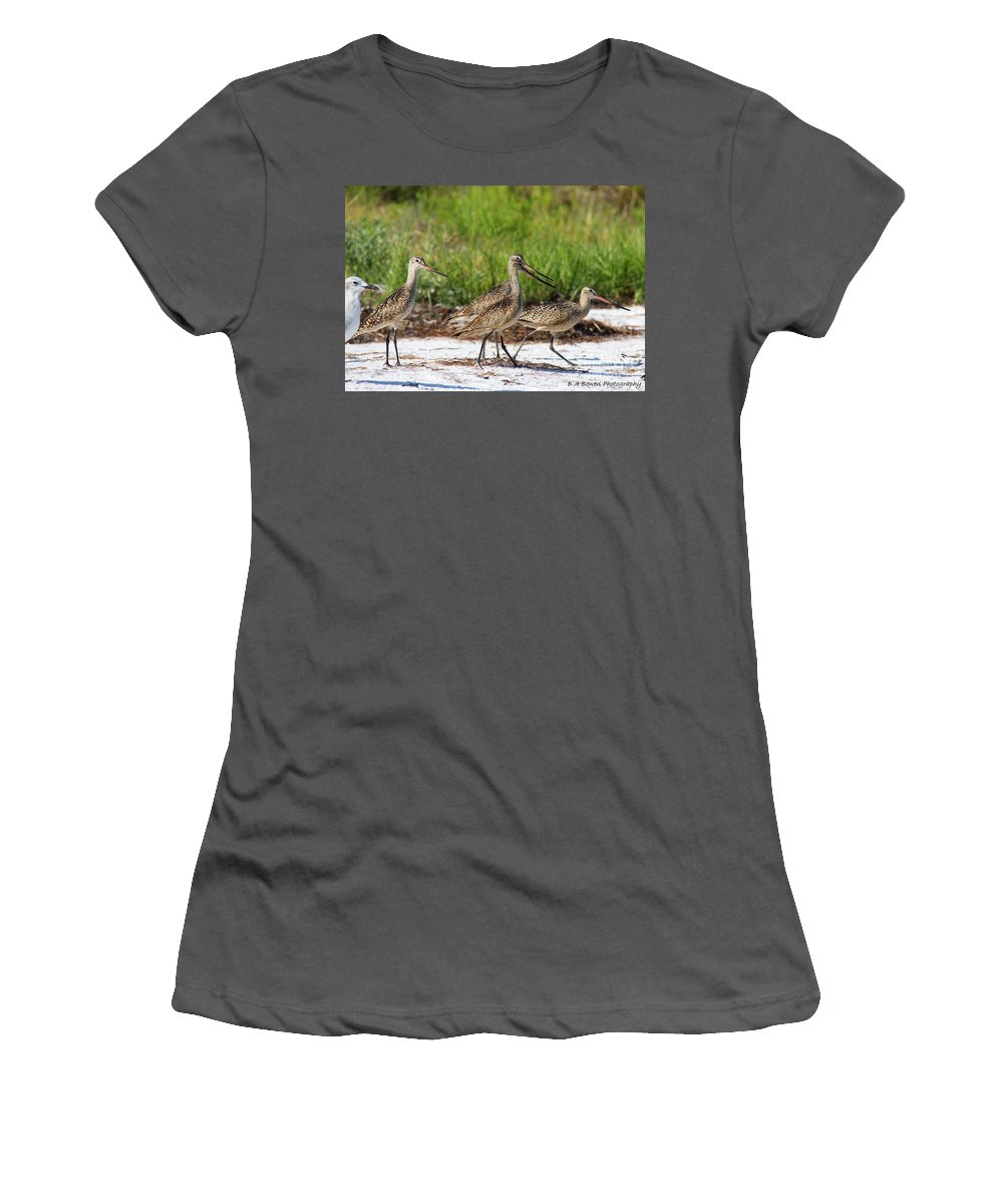 Marbled Godwit Women's T-Shirt (Athletic Fit) featuring the photograph Four Marbled Godwits by Barbara Bowen