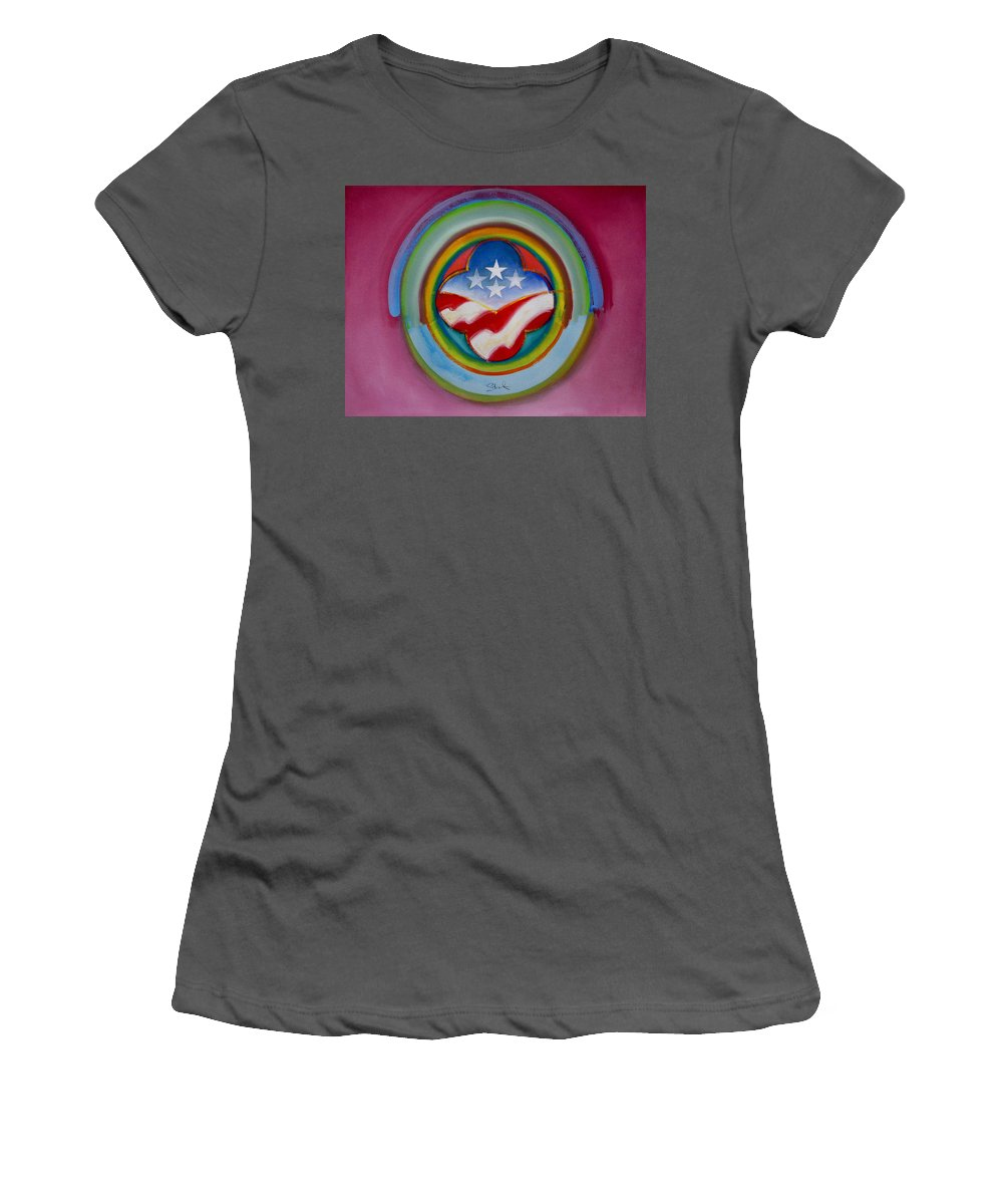 Button Women's T-Shirt (Athletic Fit) featuring the painting Four Star Button by Charles Stuart