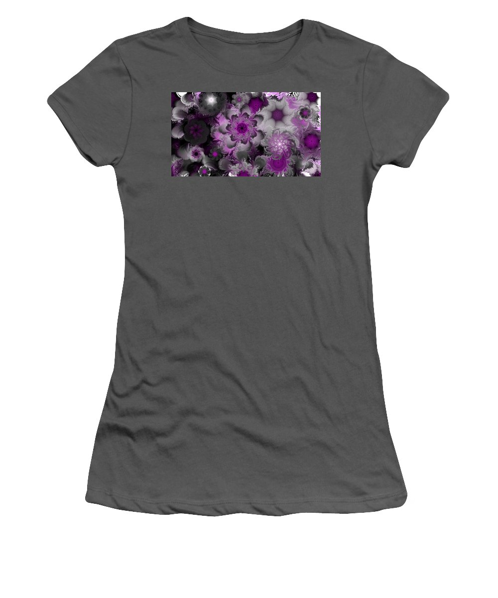 Abstract Digital Painting Women's T-Shirt (Athletic Fit) featuring the digital art Fractal Garden 4 by David Lane