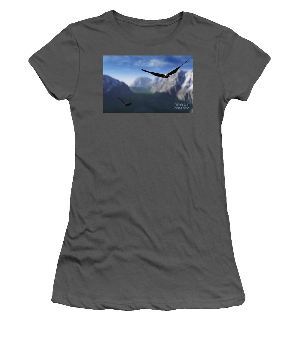 Eagles Women's T-Shirt (Athletic Fit) featuring the digital art Free Bird by Richard Rizzo