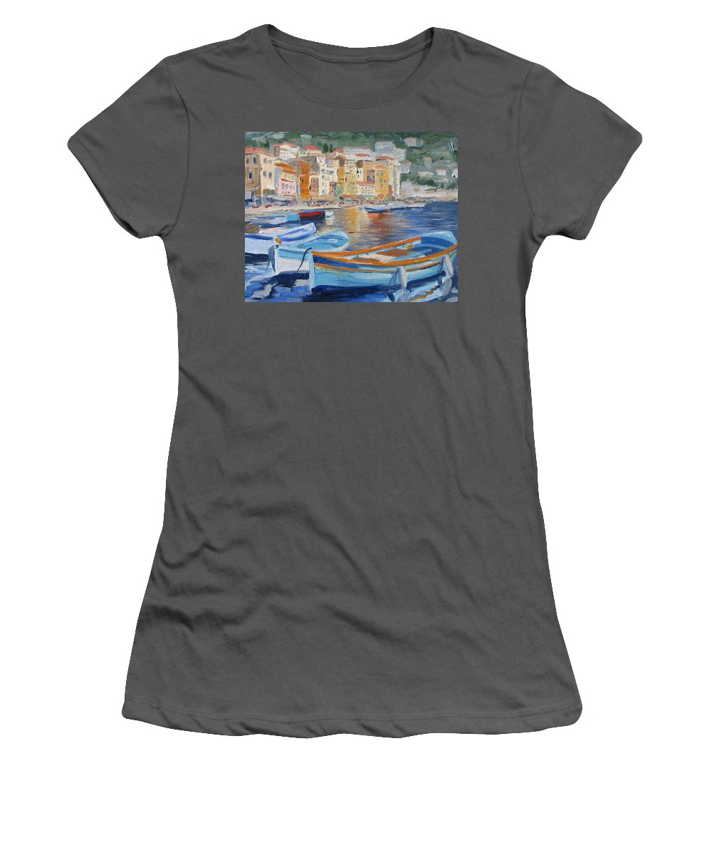 Seascape Women's T-Shirt (Athletic Fit) featuring the painting French Harbor by Jay Johnson