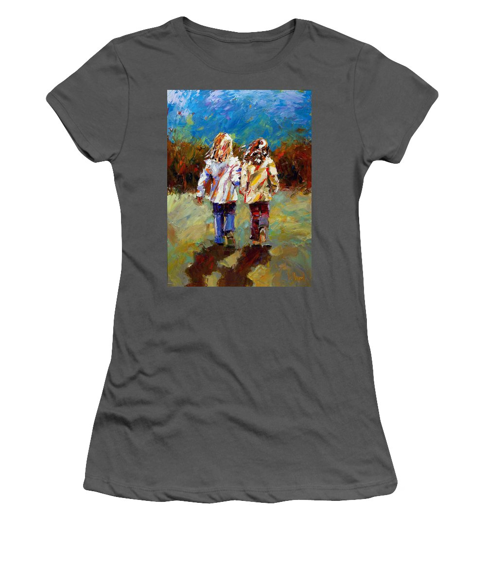 Girls Women's T-Shirt (Athletic Fit) featuring the painting Friends Forever by Debra Hurd