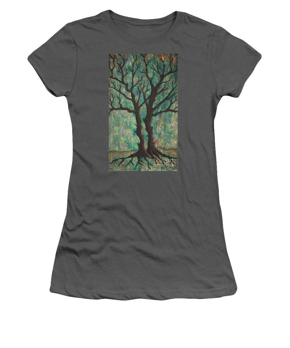 Trees Women's T-Shirt (Athletic Fit) featuring the painting Friends by Jacqueline Athmann