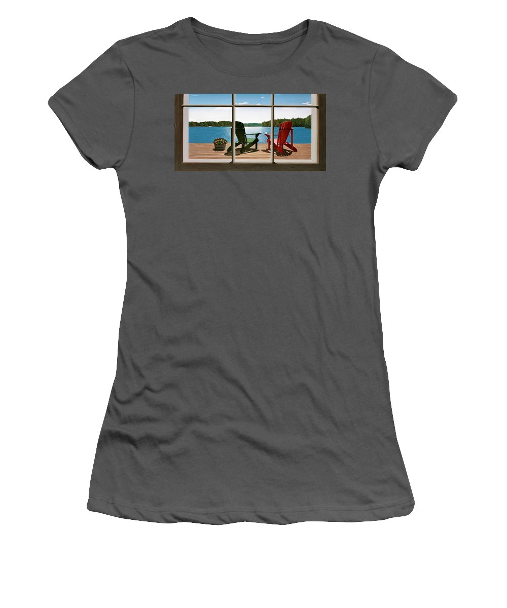 Adirondack Chairs Women's T-Shirt (Athletic Fit) featuring the painting From A Window by Kenneth M Kirsch