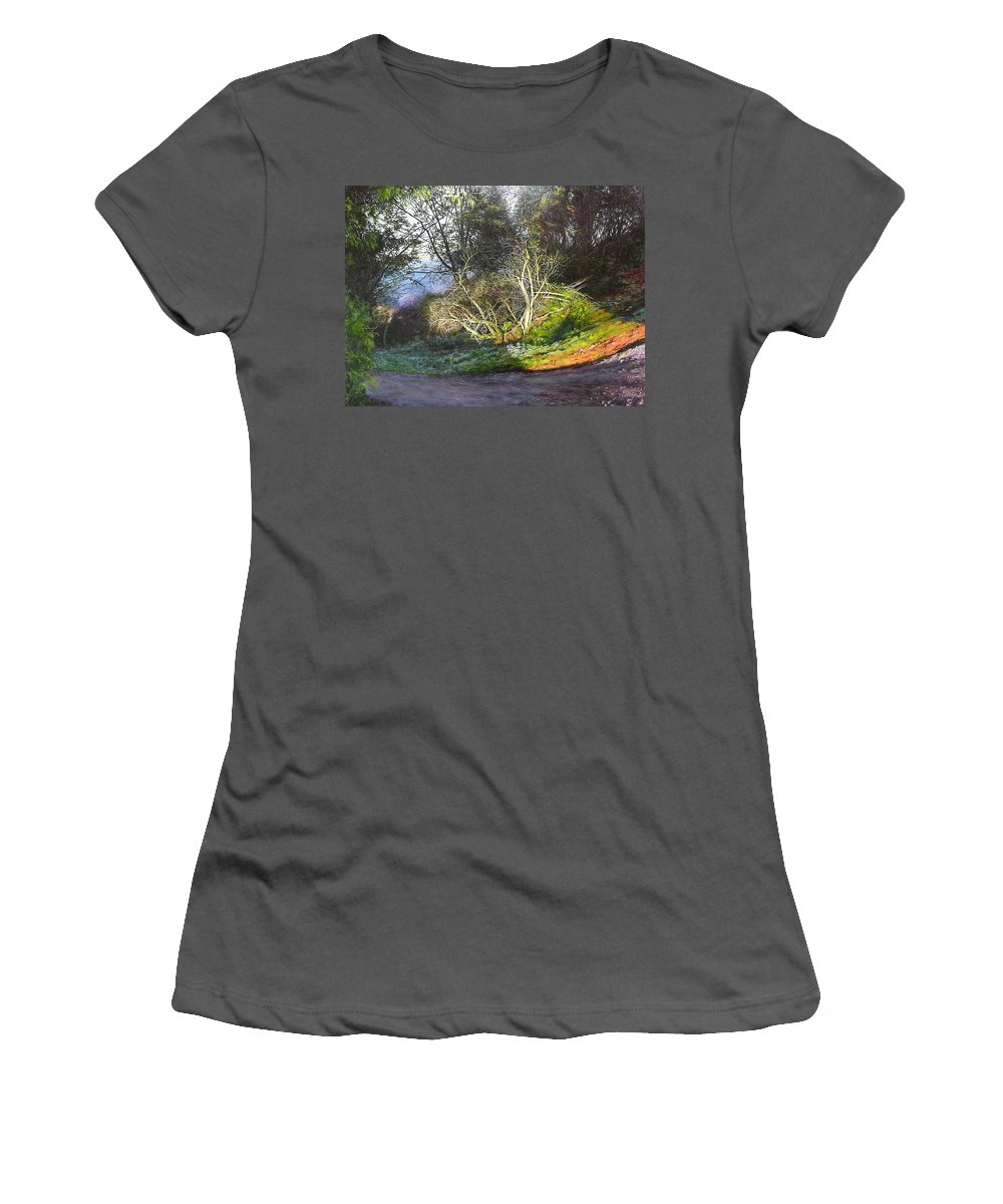 Landscape Women's T-Shirt (Athletic Fit) featuring the painting Frosty Morning Near Nant Clwyd, North Wales by Harry Robertson