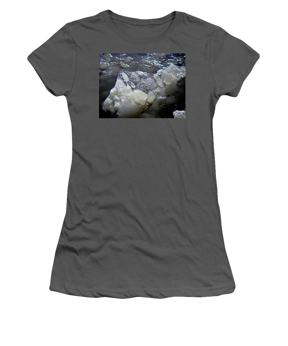 Nature Photography Women's T-Shirt (Athletic Fit) featuring the photograph Frozen Blue 3 by Strato ThreeSIXTYFive