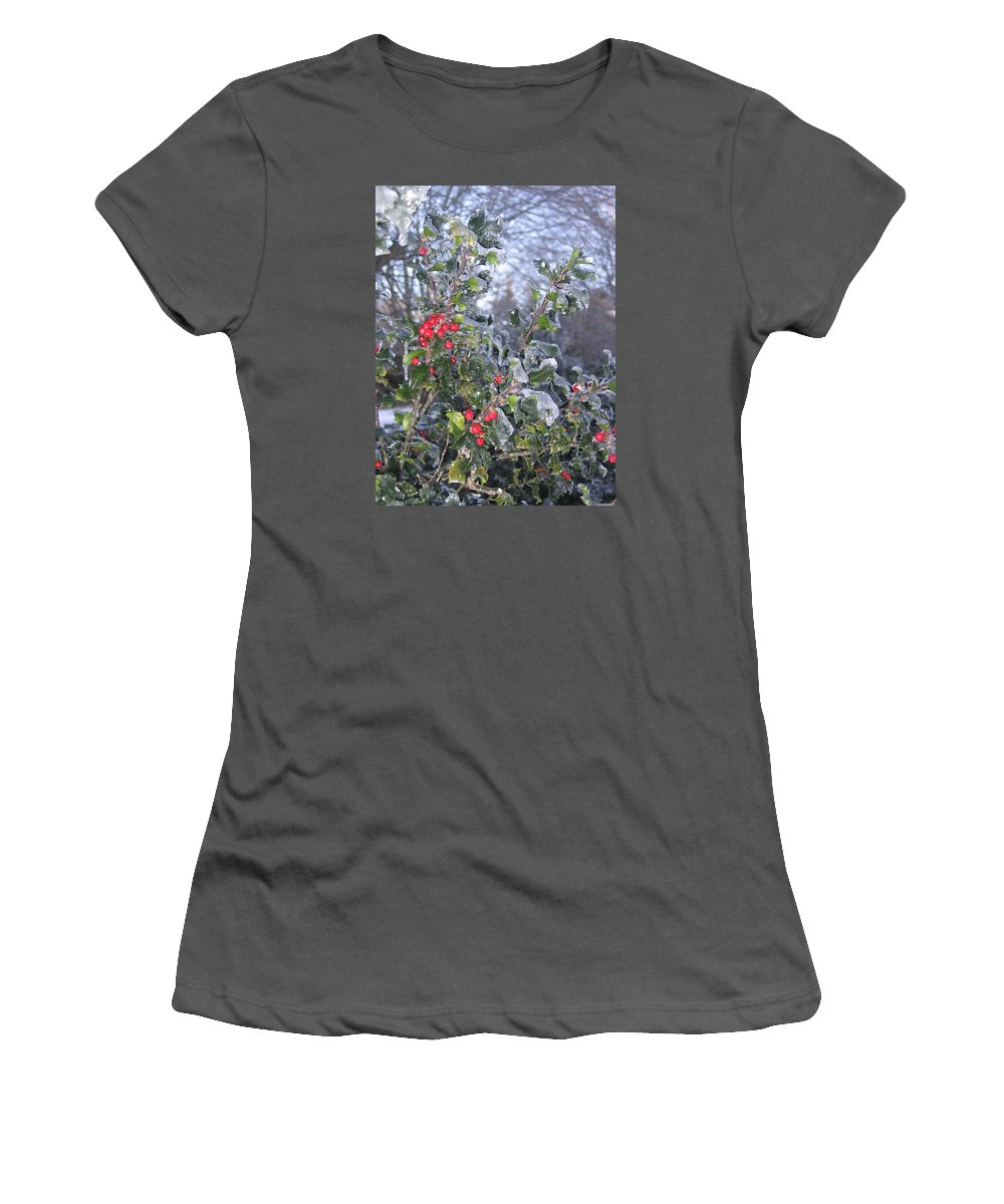 Winter Women's T-Shirt (Athletic Fit) featuring the photograph Frozen In Time by Paula Emery