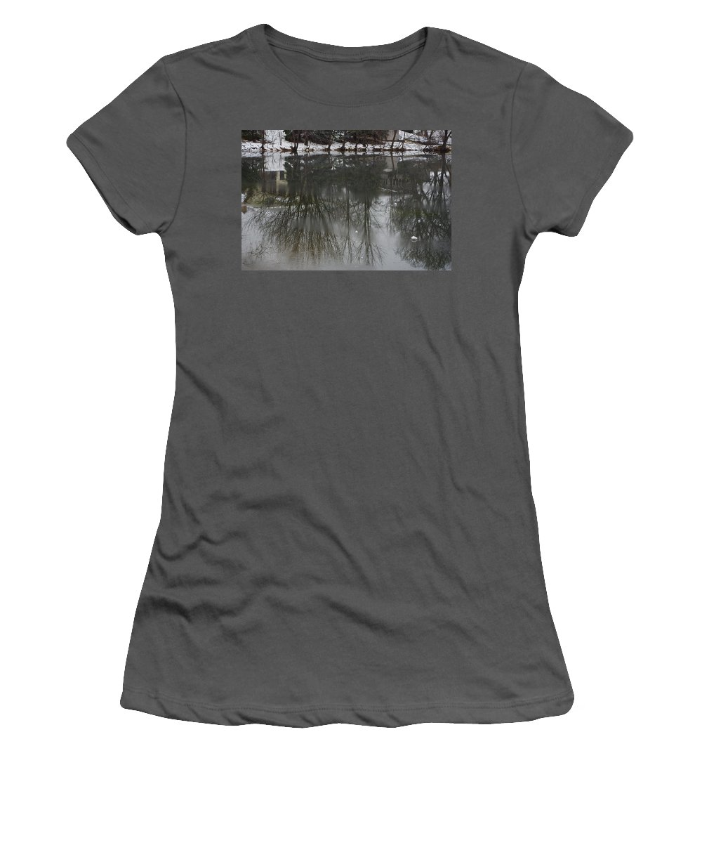 Lake Women's T-Shirt (Athletic Fit) featuring the photograph Frozen Lake Reflection by Alice Markham
