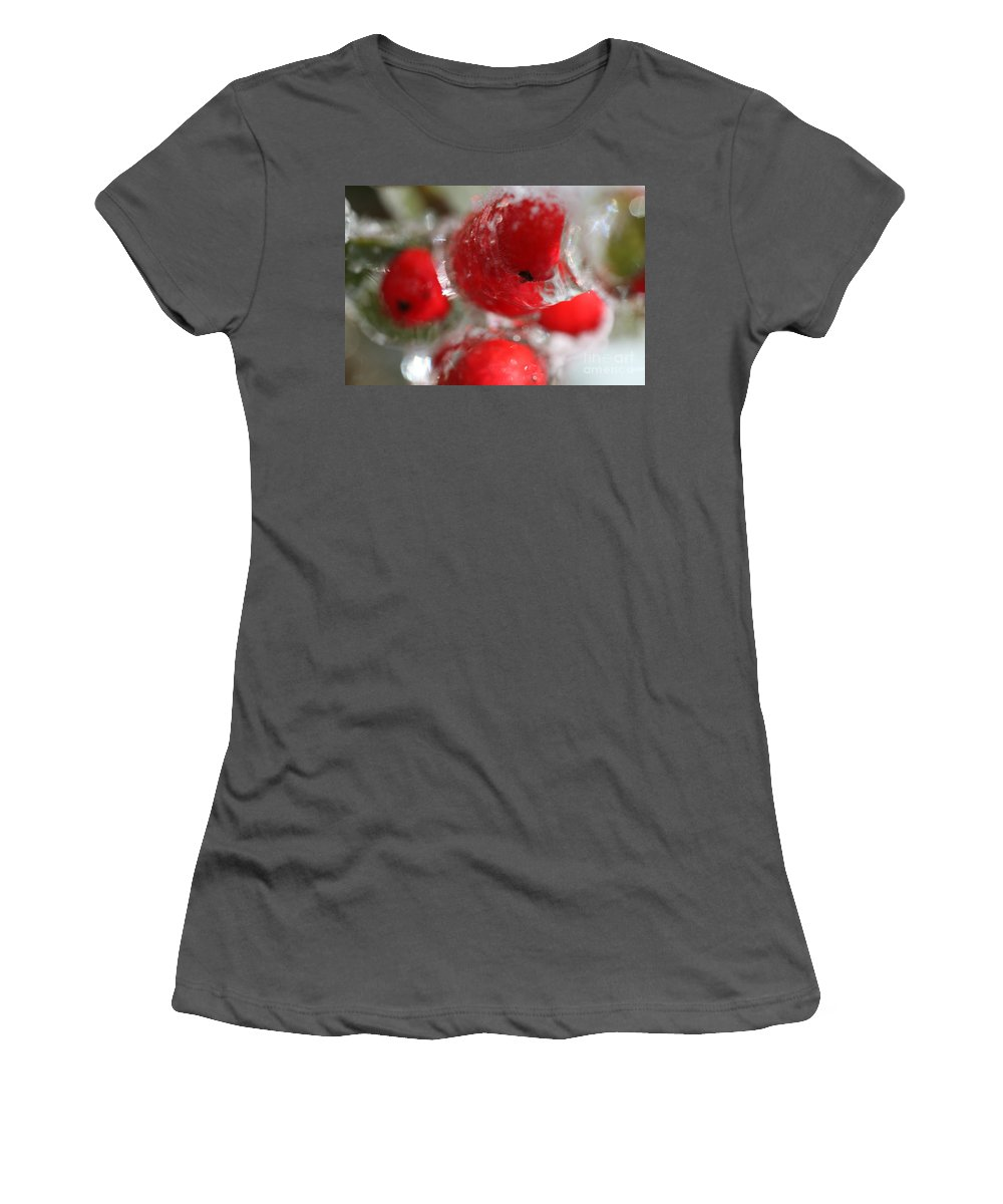 Berries Women's T-Shirt (Athletic Fit) featuring the photograph Frozen Winter Berries by Nadine Rippelmeyer